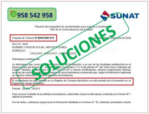 El comprobante de pago anotado en su Registro de Compras electrónico no está anotado por el proveedor en su Registro de Ventas electrónico